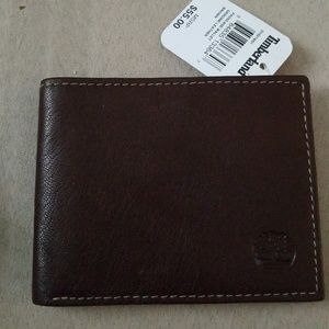 Timberland passcase wallet brown leather mens